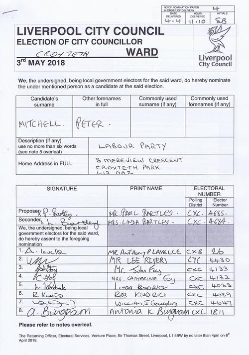 89 Croxteth Mitchell Peter NOM 2018 Liverpool City Council