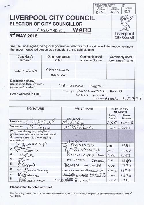 91 Croxteth Catesby Raymond Frank NOM 2018 Liverpool City Council
