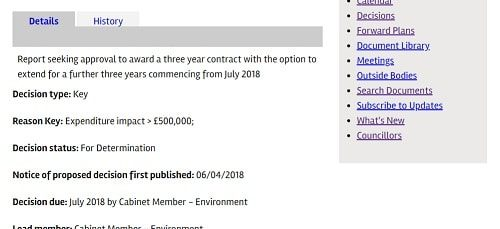 Wirral Council Forward Plan Environmental Enforcement contract