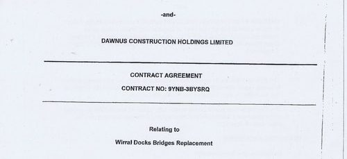 What was in the 147 page contract between Wirral Council and Dawnus Construction Holdings Limited for the Wirral Docks Bridges Replacement?