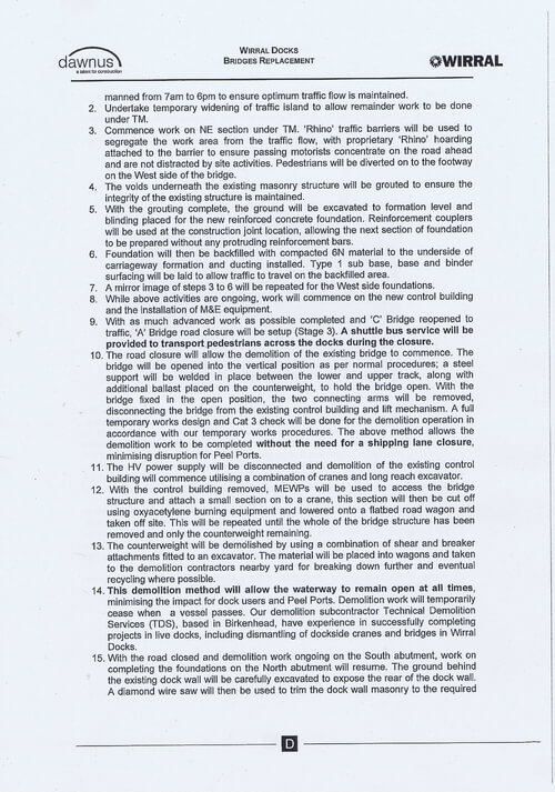 Wirral Borough Council Dawnus Construction Holdings Ltd Wirral Dock Bridges Replacement contract page 101 of 147