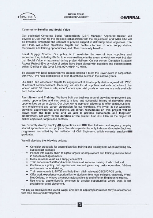 Wirral Borough Council Dawnus Construction Holdings Ltd Wirral Dock Bridges Replacement contract page 110 of 147