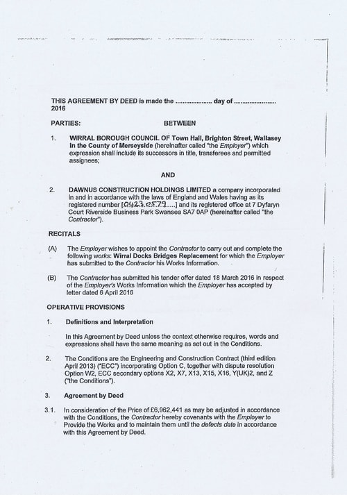 Wirral Borough Council Dawnus Construction Holdings Ltd Wirral Dock Bridges Replacement contract page 2 of 147