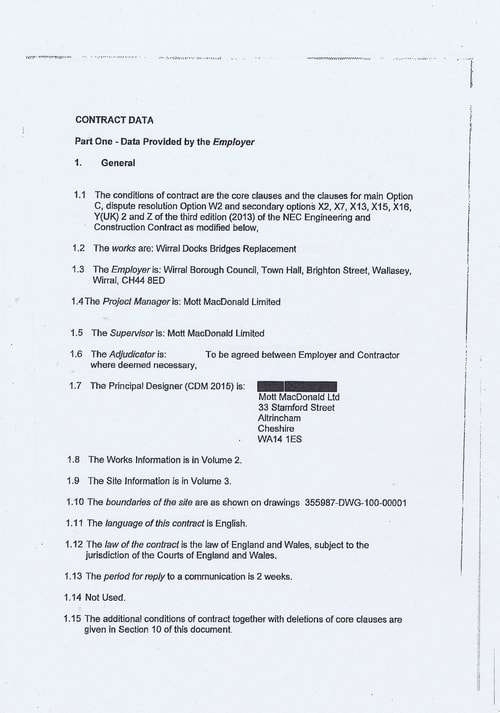 Wirral Borough Council Dawnus Construction Holdings Ltd Wirral Dock Bridges Replacement contract page 6 of 147