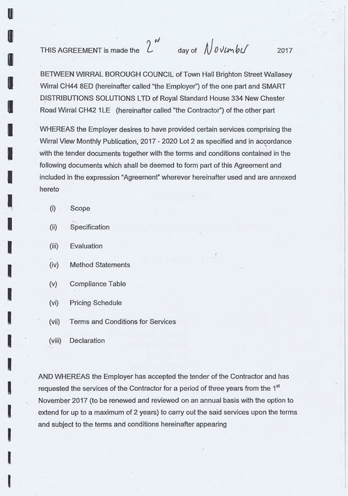 Wirral Council Smart Distribution Solutions Ltd Wirral View distribution contract page 2 of 40