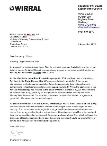 Letter from Cllr Phil Davies to James Brokenshire 7th September 2018