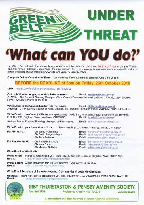 1 Irby Thurstaton and Pensby Amenity Society leaflet page 1 of 1 Wirral Council greenbelt