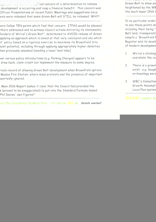 2 Irby Thurstaton and Pensby Amenity Society leaflet page 1 of 2 Wirral Council greenbelt