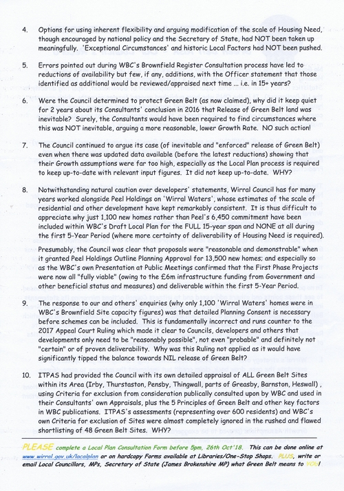 3 Irby Thurstaton and Pensby Amenity Society leaflet page 2 of 2 Wirral Council greenbelt