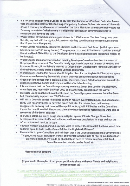 5 Defend Wirral's Green Spaces leaflet page 2 of 11