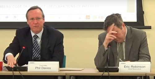 Eric Robinson (right) at a meeting of Wirral Council s Cabinet 1st October 2018