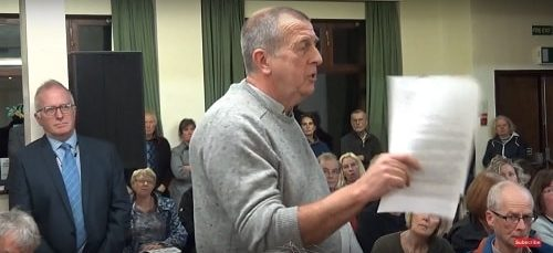 A member of the public asking questions about the Local Plan Wirral West Constituency Committee 4th October 2018