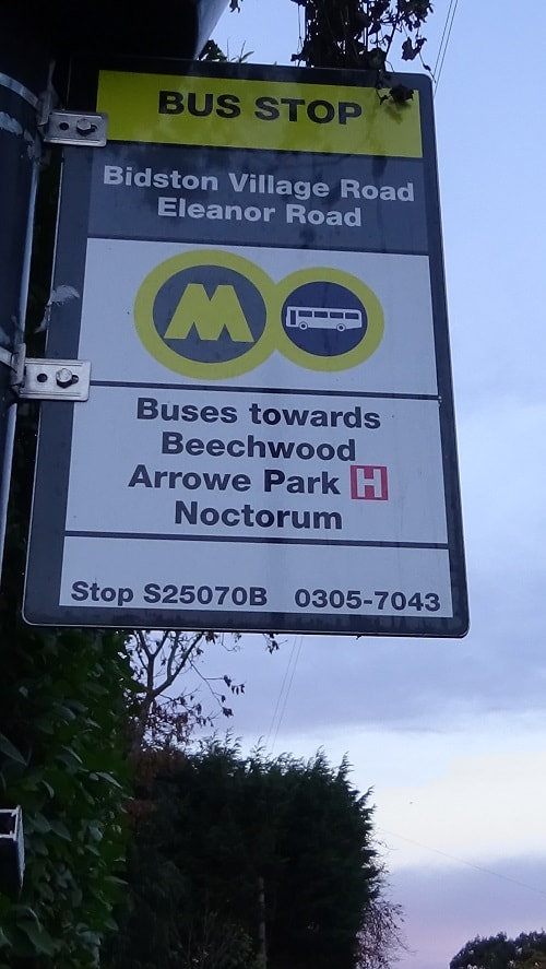 Bus Stop Bidston Village Road Eleanor Road Arrowe Park Hospital 8th November 2018