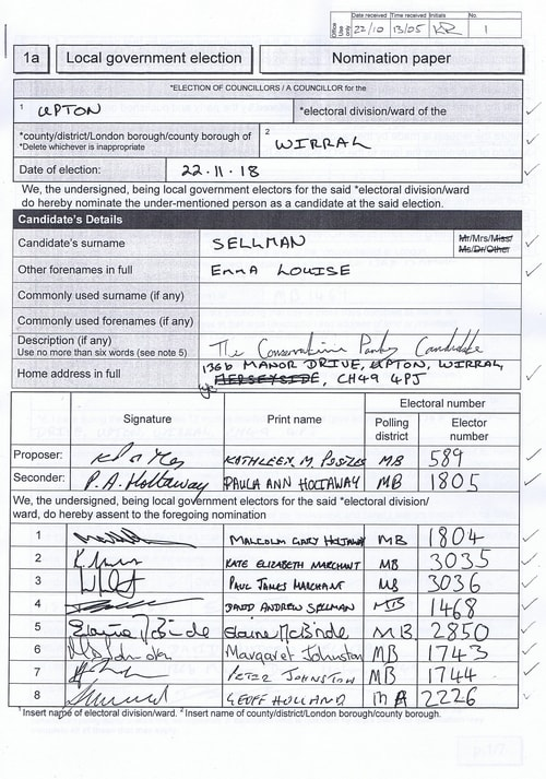 Page 1 Upton byelection Wirral Council Sellman nomination paper
