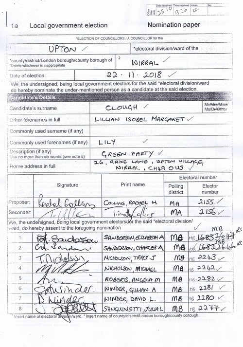 Page 10 Upton byelection Wirral Council Clough nomination paper