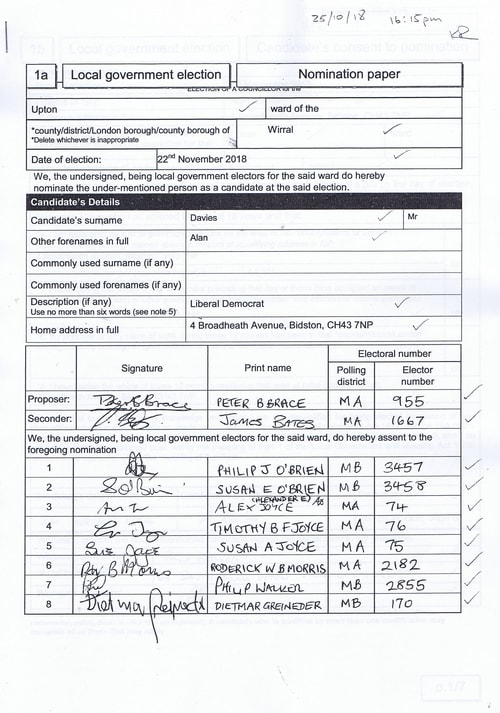 Page 12 Upton byelection Wirral Council Davies nomination paper