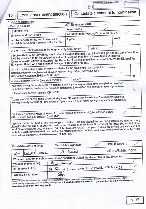 Page 13 Upton byelection Wirral Council Davies candidates consent to nomination
