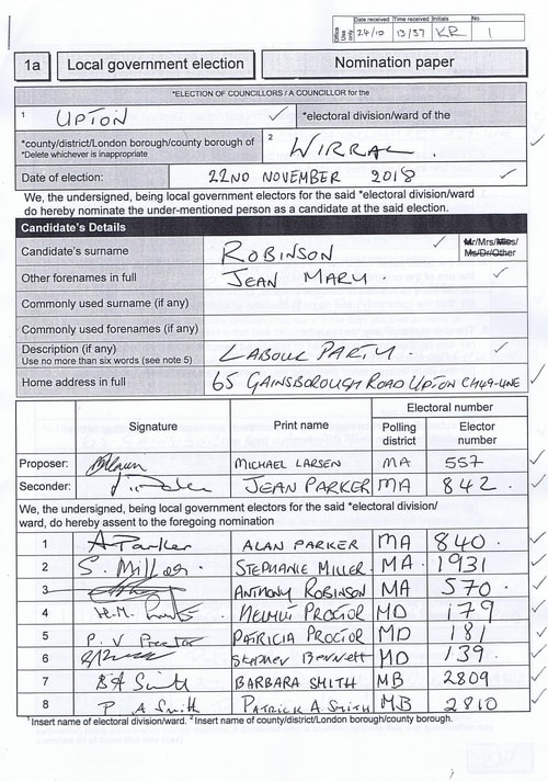 Page 14 Upton byelection Wirral Council Robinson nomination paper