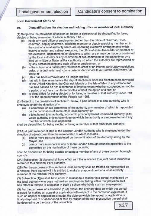 Page 4 Upton byelection Wirral Council Sellman candidates consent to nomination