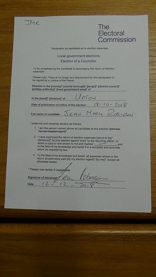 Declaration Upton byelection 2018