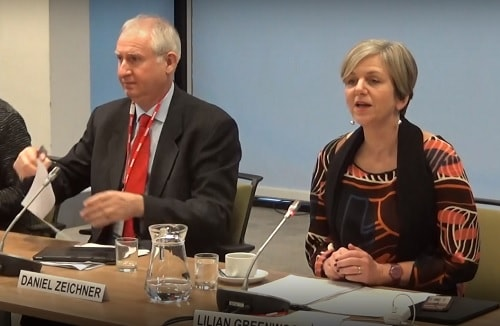 Transport Committee (House of Commons) Question and Answer Session Right Lilian Greenwood MP (Chair, Nottingham South) left Daniel Zeichner MP (Cambridge), Mann Island, Liverpool 14th January 2019