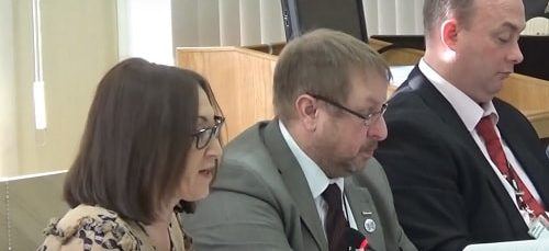 Cllr Janette Williamson (left) addressing Wirral Council's Cabinet about the 2019-20 Budget 18th February 2019