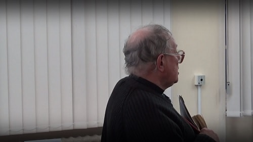 Father Leon Ostaszewski asking questions at the last meeting of the Wallasey Constituency Committee 12th March 2019