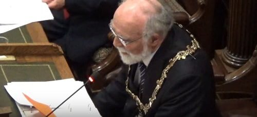 Mayor Cllr Geoffrey Watt announcing the result of the vote Hoylake Golf Resort/Celtic Manor Resort (Wirral Council) 25th February 2019
