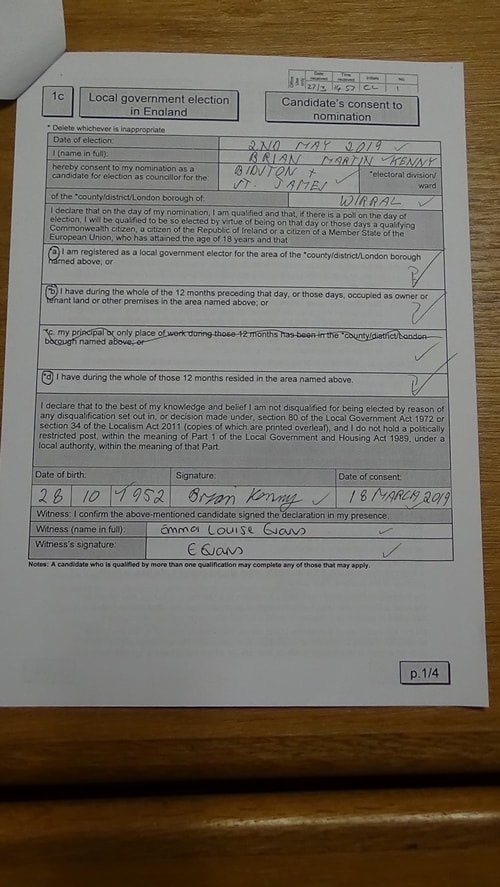 Candidate's consent to nomination Brian Kenny Labour Bidston and St James 2019 page 1 of 4