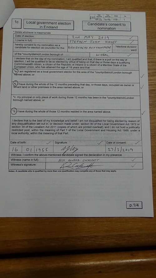 Candidate's consent to nomination Steve Hayes Green Birkenhead and Tranmere 2019 Page 1 of 4