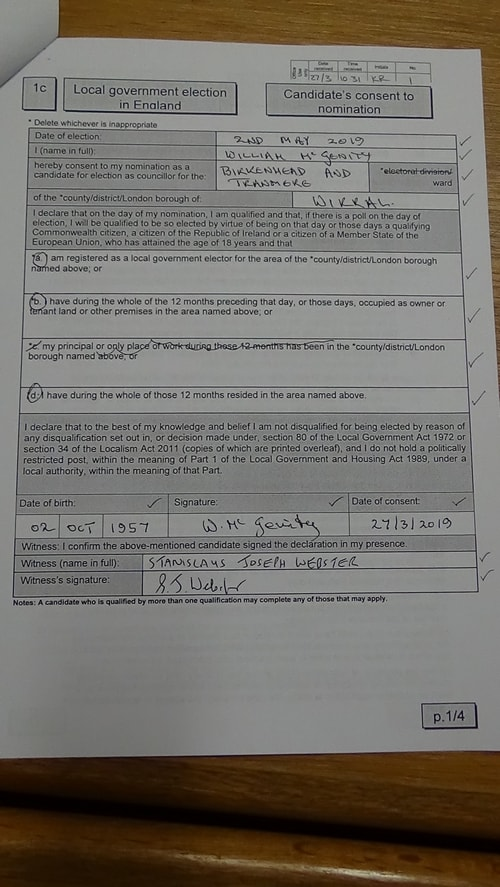 Candidate's consent to nomination Bill McGenity Labour Birkenhead and Tranmere 2019 page 1 of 4