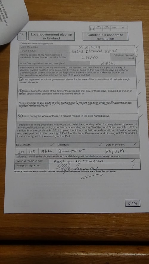 candidate's consent to nomination Sarah Spoor Liscard 2019 page 1 of 4