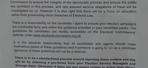 Merseyside Police letter to candidates and agents 2019