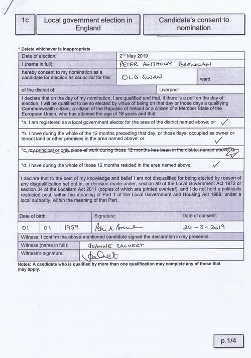 candidate's consent to nomination page 1 Liverpool City Council 2019 3 Peter Brennan Old Swan