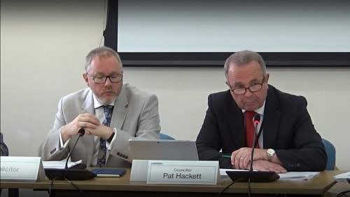Cllr Pat Hackett (right) speaking about Celtic Manor Resort at a public meeting of Wirral Council's Cabinet 8th July 2019