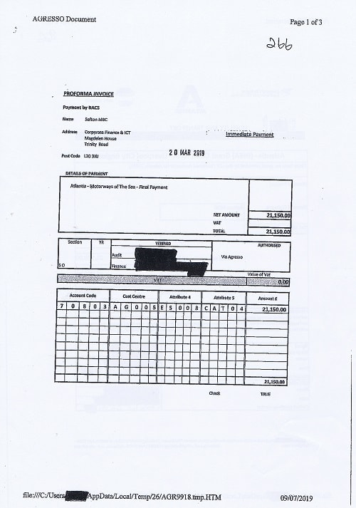 266 Merseytravel LCRCA invoice March 2019 Atlantis Final Reconciliation Page 1 of 3