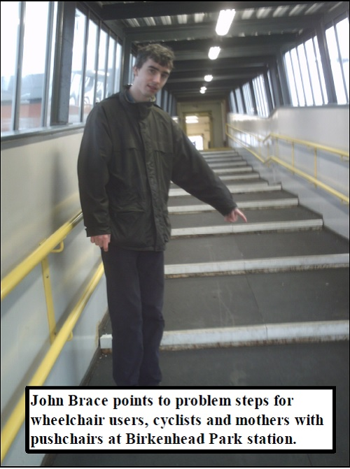 John Brace at Birkenhead Park Train Station (January 2008) pointing out accessibility issues