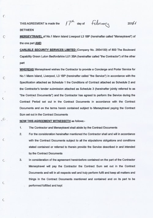 Merseytravel Carlisle Security Services Limited contract Page 2 of 33