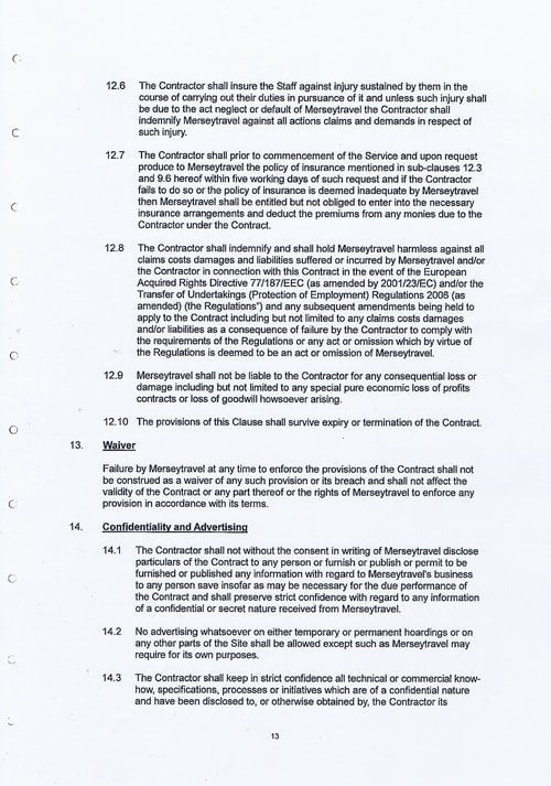 Merseytravel Carlisle Security Services Limited contract Page 21 of 33