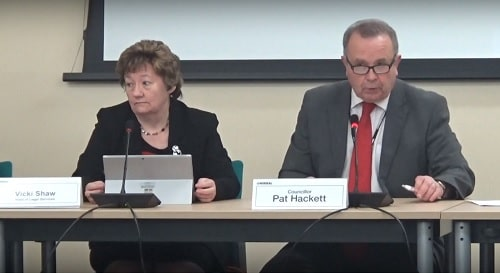 Cabinet (Wirral Council) 25th November 2019 (left Vicki Shaw, right Cllr Pat Hackett)