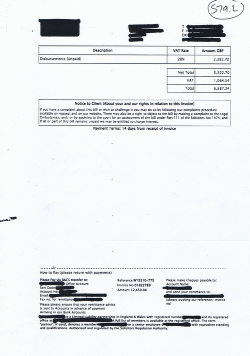 Merseyside Police invoice 579 Weightmans MMI page 2 of 4