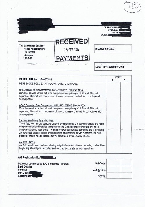 Merseyside Police invoice 713 page 1 of 3