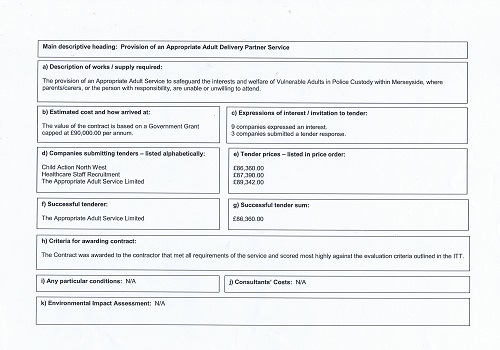 Page 2 Tenders Appropriate Adult Service