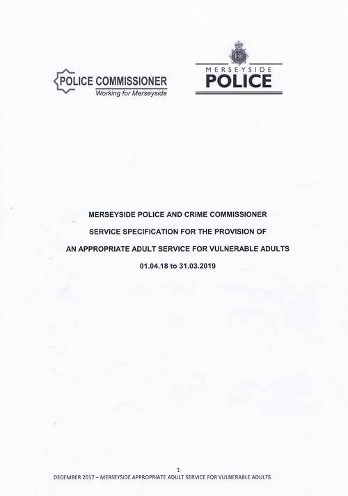 Page 3 Service Specification Appropriate Adult Service for Vulnerable Adults Merseyside Police