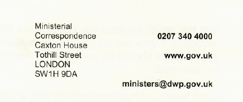 "Ministerial Correspondence DWP (ATOS supply information for ""Ministerial correspondence"")"