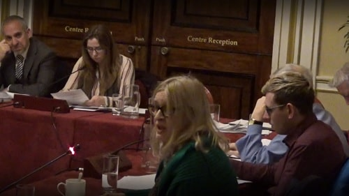 Cllr Simic addresses a meeting of Liverpool City Council's Regeneration and Sustainability Select Committee 19th December 2019