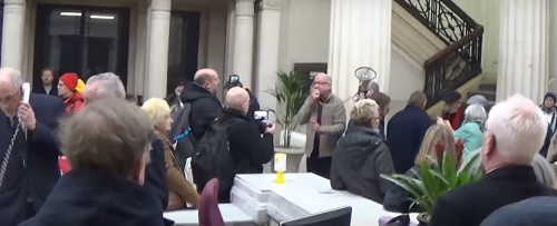 Cunard Building ground floor protest