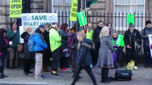 Protest about green spaces and climate change outside Liverpool Town Hall 15th January 2020