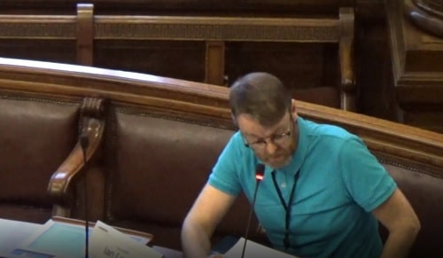 Cllr Ian Lewis at a public meeting of Wirral Council's Planning Committee held on the 19th March 2020 at Wallasey Town Hall