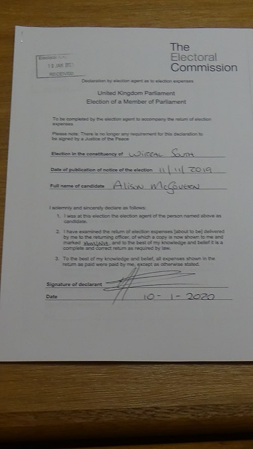 Noel Hutchinson 2019 general election agent declaration Wirral South